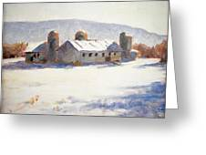 Barns In Blue  Greeting Card