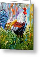 Barnyard Rooster Greeting Card by Barbara Pirkle