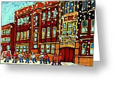Baron Byng High School St Urbain Street Hockey Montreal Winter Scene Carole Spandau Montreal Artist Greeting Card