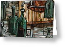 Barrel To Bottle Greeting Card by Sean Hagan