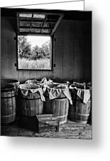 Barrels Of Beans - Bw Greeting Card