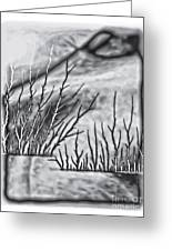 Abstract Trees On Barren Landscape Greeting Card