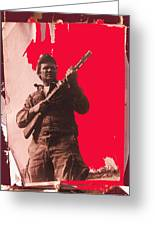 Barry Sadler Machine Gun Authentic Ww2 Africa Korps Hat Camouflage Clothes Collage Tucson 1971-2012 Greeting Card