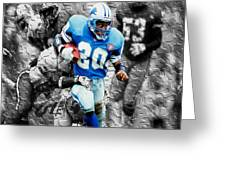 Barry Sanders Breaking Out Greeting Card