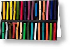 Bars Of Bright And Colorful Pastel On Black Background Greeting Card