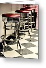 Barstools Of Vintage Roadside Diner Greeting Card by Phillip Rubino