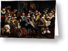 Bartholomeus Van Der Helst Banquet Of The Amsterdam Civic Guard In Celebration Of The Peace Of Munst Greeting Card