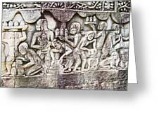 Bas-reliefs Of Khmer Daily Activities In The Bayon In Angkor Thom-cambodia  Greeting Card