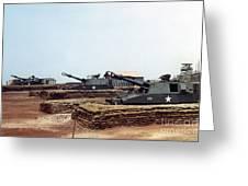 Base Camp Artillery Guns Self-propelled Howitzer M109 Camp Enari Central Highlands Vietnam 1969 Greeting Card