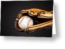 Baseball And Glove Greeting Card by Joe Belanger