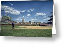 Baseball At Wrigley Field In The 1990s Greeting Card