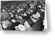 Baseball Fans At Yankee Stadium For The Third Game Of The World Greeting Card