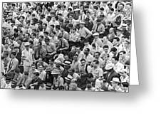 Baseball Fans In The Bleachers At Yankee Stadium. Greeting Card