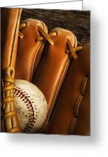 Baseball Glove And Baseball Greeting Card