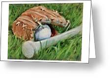 Baseball Glove Bat And Ball Greeting Card