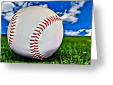 Baseball In The Grass Greeting Card