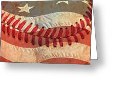 Baseball Is Sewn Into The Fabric Greeting Card by Heidi Smith