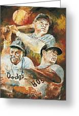 Baseball Legends Babe Ruth Jackie Robinson And Ted Williams Greeting Card