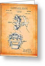 Baseball Mask Patent Orange Us2627602 A Greeting Card