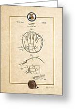 Baseball Mitt By Archibald J. Turner - Vintage Patent Document Greeting Card