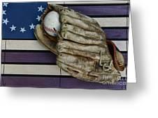 Baseball Mitt On American Flag Folk Art Greeting Card