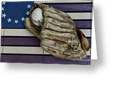 Baseball Mitt On American Flag Folk Art Greeting Card