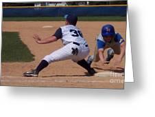 Baseball Pick Off Attempt Greeting Card