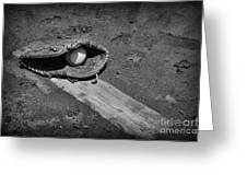 Baseball Pitchers Mound In Black And White Greeting Card by Paul Ward