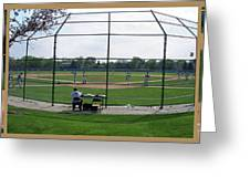 Baseball Playing Hard 3 Panel Composite 01 Greeting Card