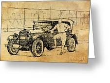 Baseball Star On A New Ford Greeting Card