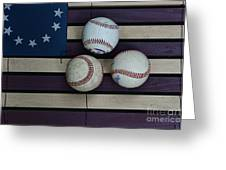Baseballs On American Flag Folkart Greeting Card