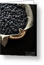 Basket Full Fresh Picked Blueberries Greeting Card by Edward Fielding