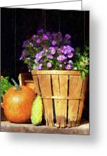 Basket Of Asters With Pumpkin And Gourd Greeting Card