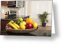 Basket Of Fresh Fruit In Modern Kitchen Greeting Card