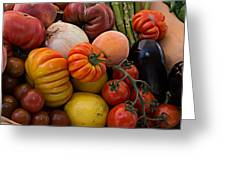 Basket Of Fruits And Vegetables Greeting Card
