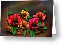 Basket Of Hibiscus Flowers Greeting Card