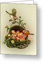 Basket Of Peaches And Flicker Greeting Card by Mary Mcgrath
