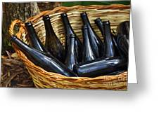 Basket With Bottles Greeting Card by Carlos Caetano