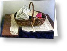 Basket With Cloth And Measuring Tape Greeting Card