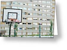 Basketball Court In A Social Neighbourhood Greeting Card
