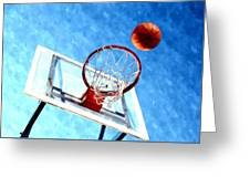 Basketball Hoop And Ball 1 Greeting Card by Lanjee Chee