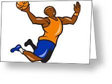 Basketball Player Dunking Ball Cartoon Greeting Card