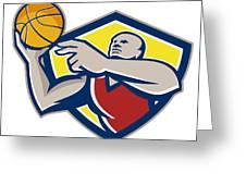 Basketball Player Laying Up Ball Retro Greeting Card by Aloysius Patrimonio