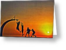 Basketball Sunrise Greeting Card