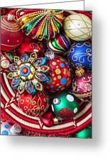 Basketful Of Christmas Ornaments Greeting Card