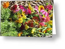 Basketful Of Flowers Greeting Card