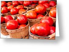 Baskets Of Tomatoes At A Farmers Market Greeting Card by Teri Virbickis