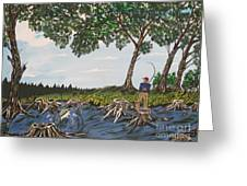 Bass Fishing In The Stumps Greeting Card