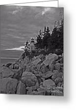 Bass Harbor Black And White   Greeting Card