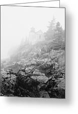 Bass Harbor Head Light In Fog Greeting Card